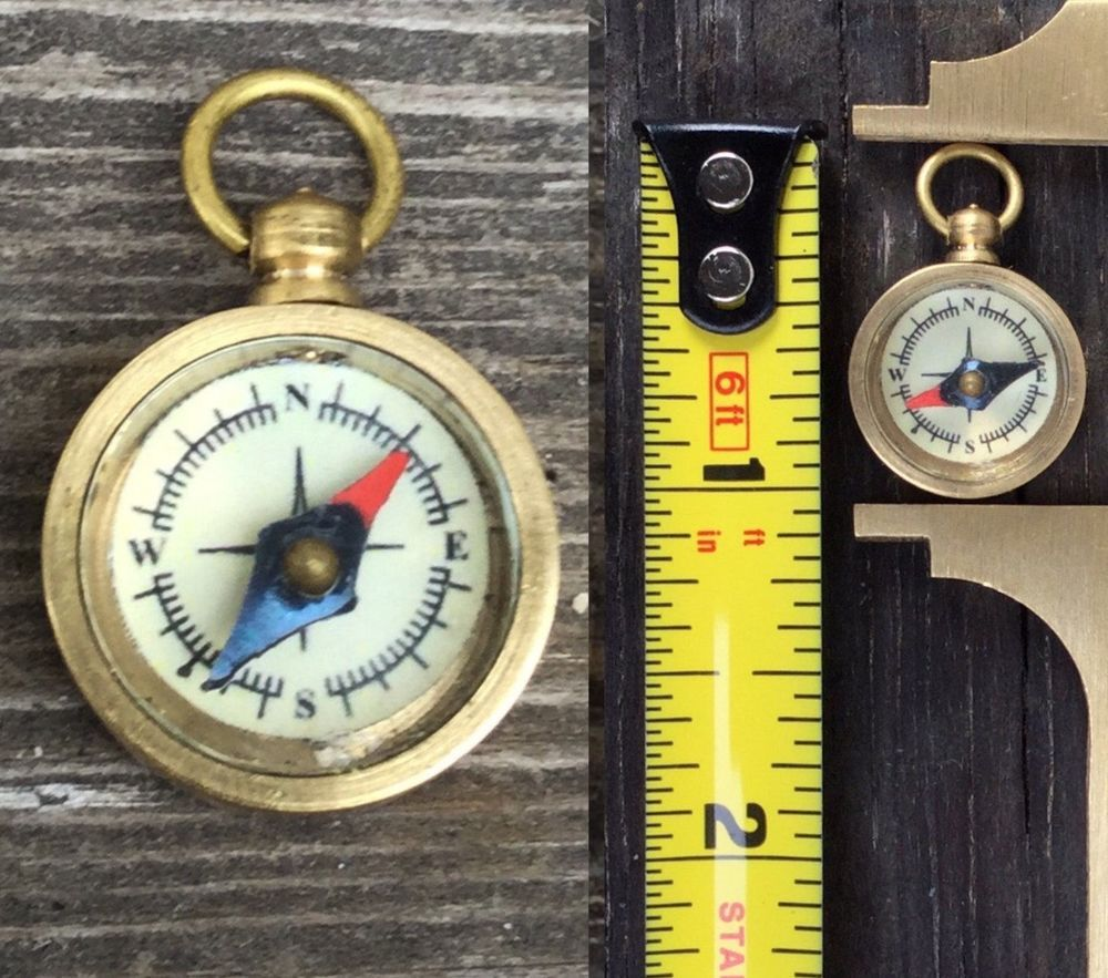 Brass Pocket Compass Miniature Necklace Pendant Small Vintage Antique Style