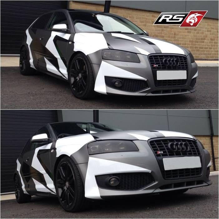 Custom Audi A3 S3 Body Kit 3m 1080 Matte Gray Aluminium Camo Wrap Camo Wraps Audi A3 Audi