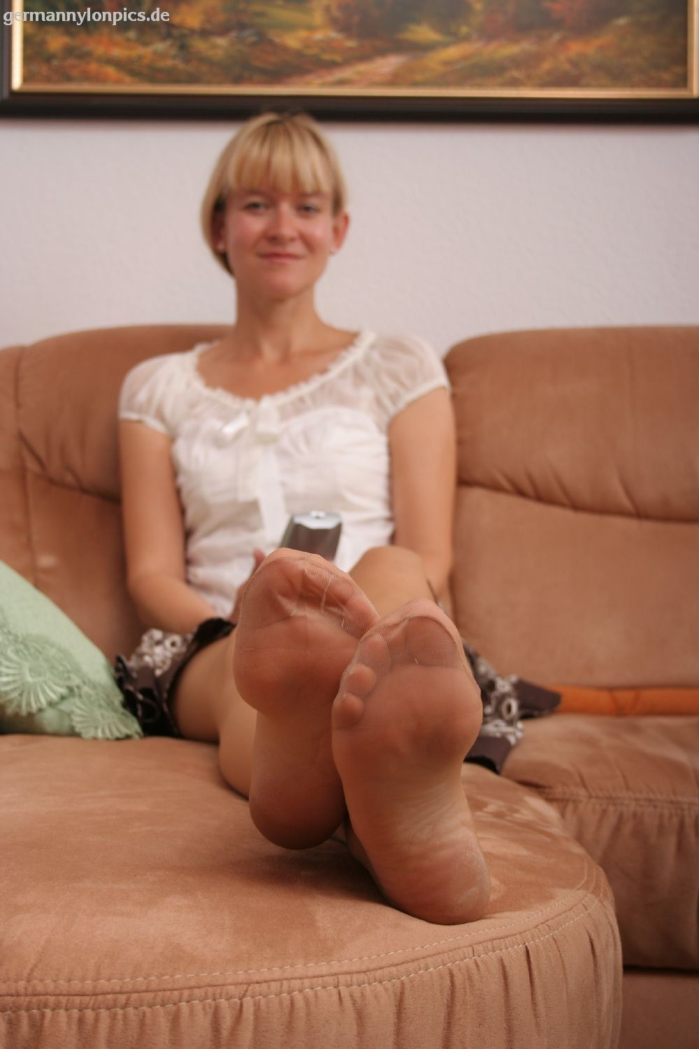 Mature feet stockings
