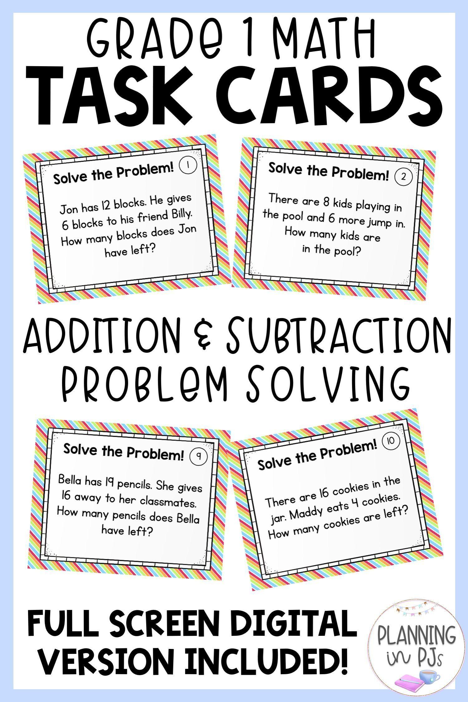 Word Problem Solving Task Cards Grade 1 Math Addition