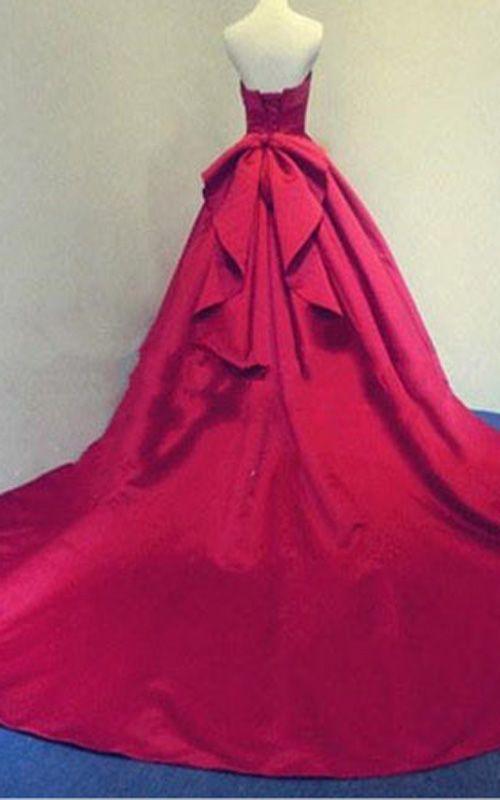 b1089495d4a Dark Red Strapless Sleeveless Pleated Ball Gown Floor Length Satin Long  Prom Dress