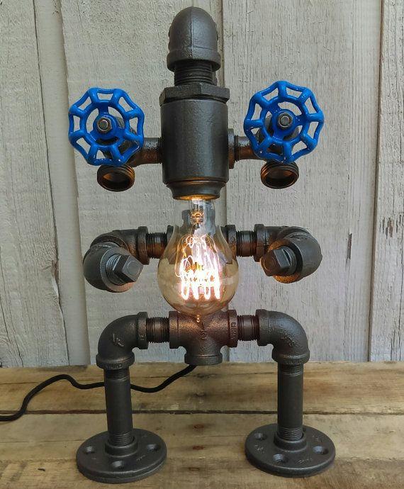 Beard Steampunk Robot Lamp Pipe Man By Silversawdesigns