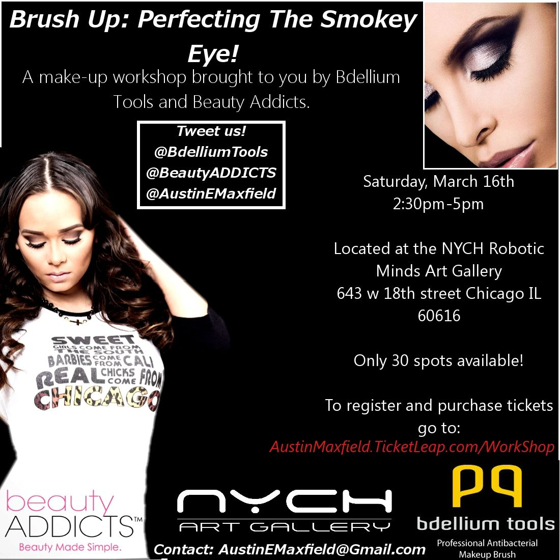 Austin from Chicagolicious presents a makeup workshop March 16th sponsored by Bdellium tools and Beauty Addicts! This will teach how to perfect the smokey eye! #makeup #smokeyeye #chicagolicious #bdelliumtools #beautyaddicts #chicago #mua #makeupartist #smokey #eye #chicago #workshop #chicagolicious #makeup #austinmaxfield #nych #artgallery #roboticminds #twitter #instagram #facebook