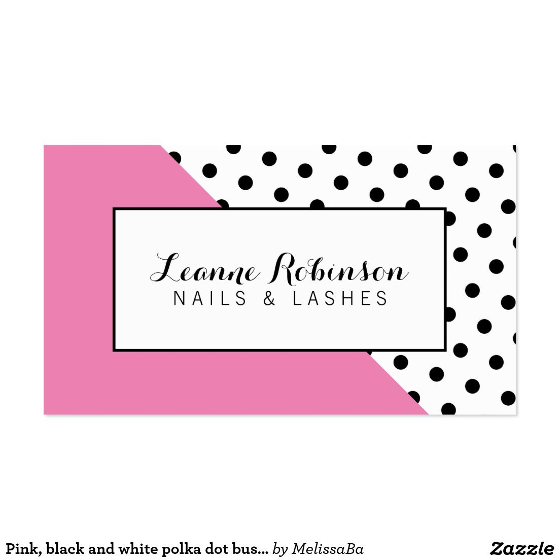 Pink, black and white polka dot business card | Business Cards ...