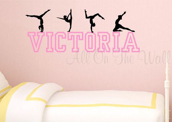 Incroyable Gymnastics Wall Decal Personalized Girl Name Teen Baby Nursery Dance Gymnast U2026