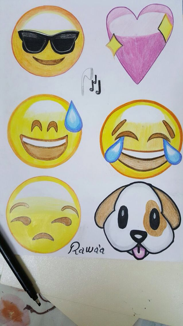 how to draw emojis on paper