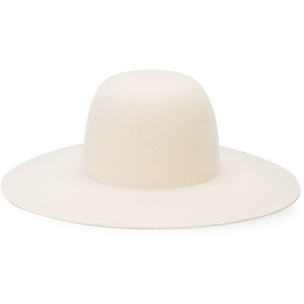 Off-White Wide Brim Hat ($553) ❤ liked on Polyvore featuring accessories, hats, white, white hat, fur hat, white fur hat, white wide brim hat and wide brim hats