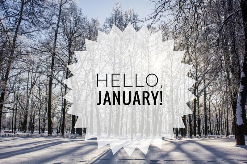 Hello January Photo. The Beginning Of The New Year. Greeting Card Stock Photo - Image of holiday, invitation: 134875254