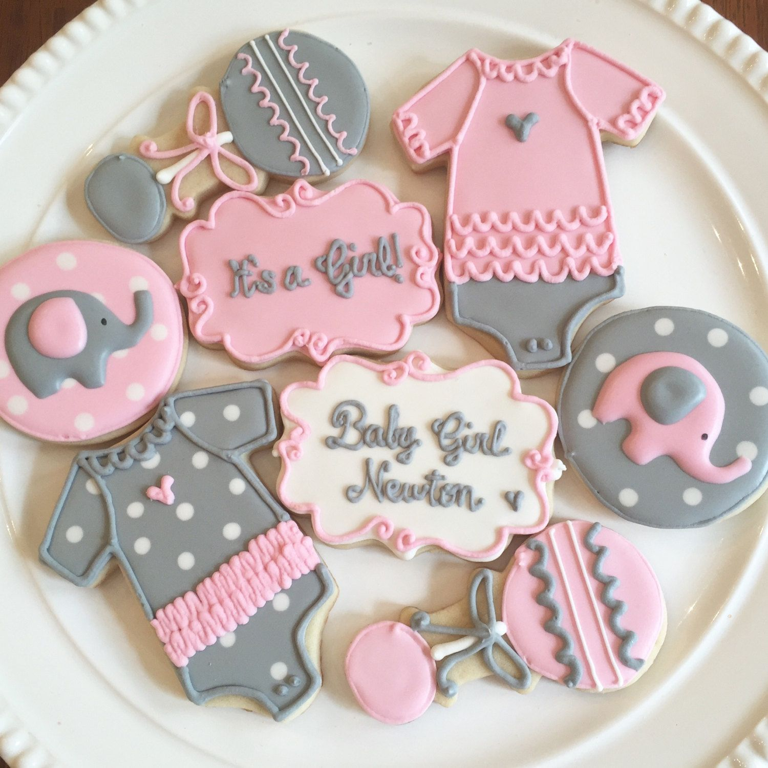 Image Result For Baby Shower Cookies Pink Grey White Elephants