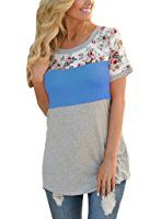 0aadb47b1bc HOTAPEI Women Casual Floral Print Short Sleeve Colorblock Blouse Tops
