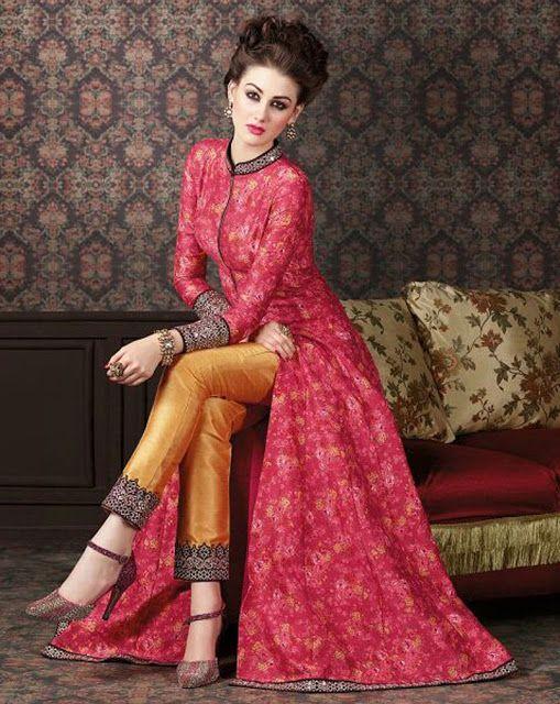 355a47581 Z Fashion Trend  PINK DESIGNER PARTY WEAR PANT STYLE SUIT