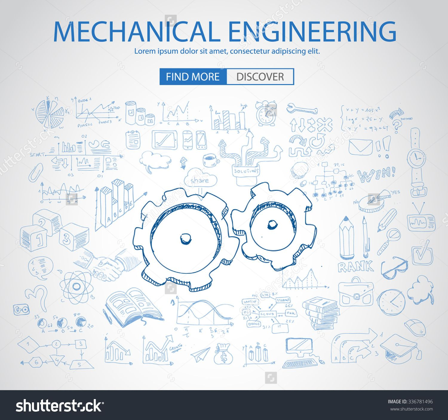 Mechanical Engineering Concept With Doodle Design Style Physics Solution Re Engineering Parts Design Modern St Doodle Designs Engineering Poster Book Design