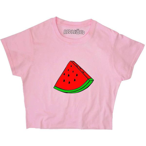 Watermelon Crop Top Graphic Summer Tee Unisex Yellow Pink Blue White...  ($17) ❤ liked on Polyvore featuring tops, t-shirts, crop t shirt, cropped  graphic ...