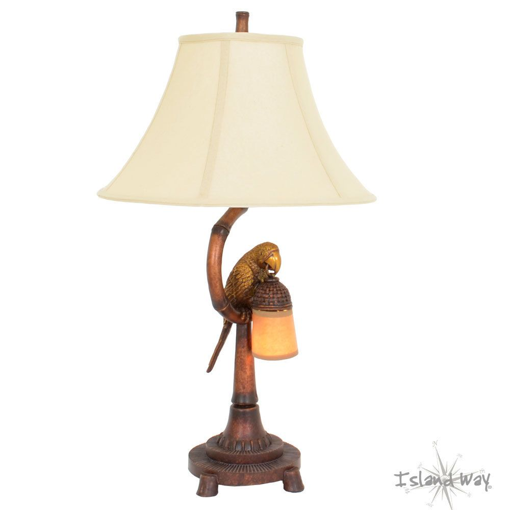 Parrot Table Lamp With Night Light   Island Way Living | Tropical Home Decor