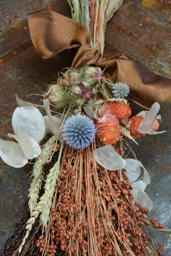 Fall Flowers Decor Mixed Dried Flowers Broomcorn And Seed Pods Great For Fall Weddings And Autu Dried Flower Bouquet Dried Flower Arrangements Dried Flowers