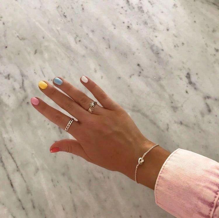 Skittles Nail Art Idea Naturalnailsgel In 2020 Cute Nails Gel Nails Makeup Nails