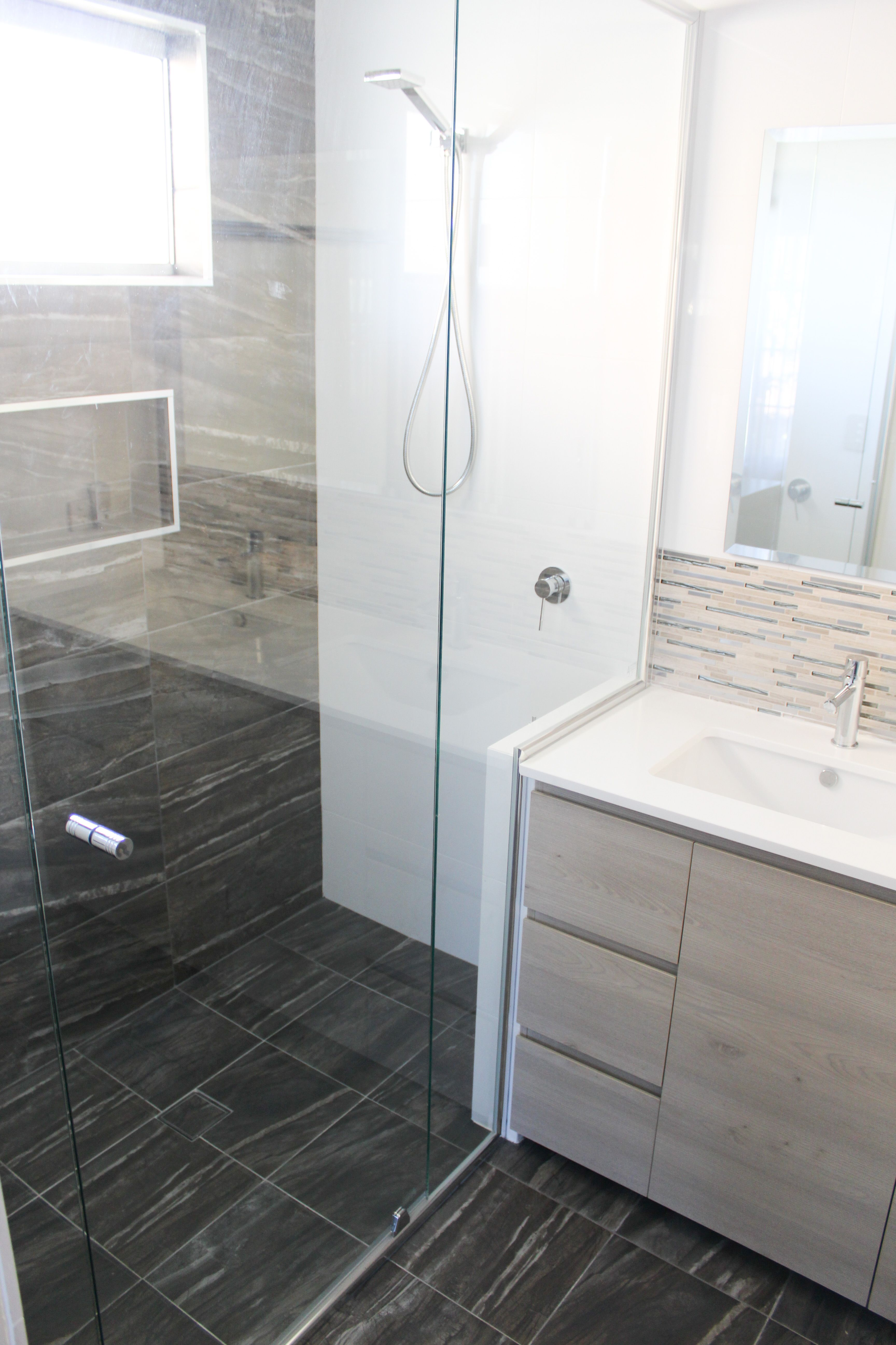 Wall To Shower Screen Semi Frameless Nib Wood Vanity Charcoal Floor White Walls Bathroom Byford Renovation On