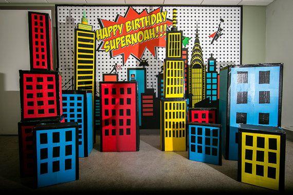 Escenario fiesta de superhéroes por RedCycleDesign en Etsy