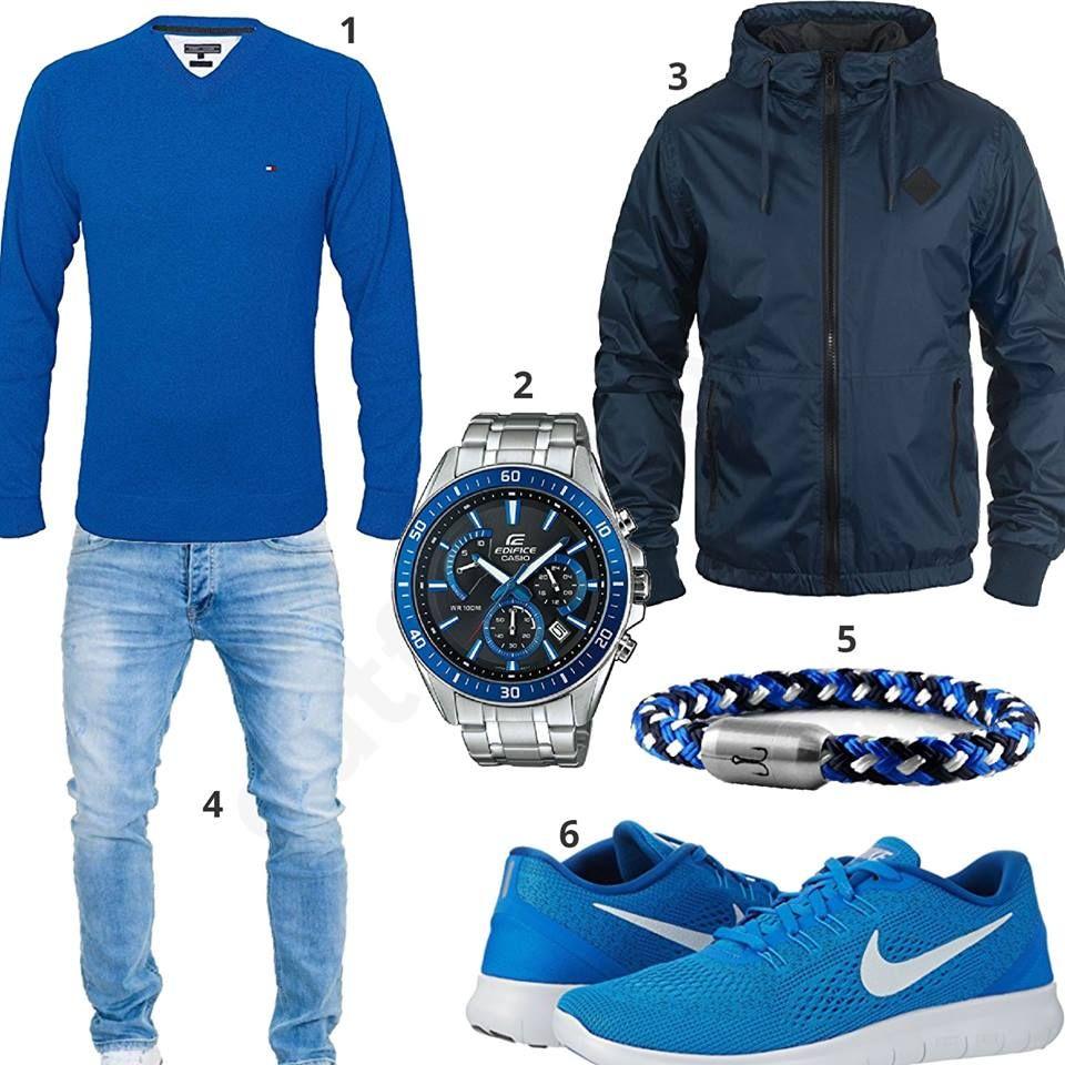 3d9c17757cc6 Blaues Herren-Outfit mit Tommy Hilfiger Pullover, Blend Übergangsjacke,  hellblauer Merish Jeans,