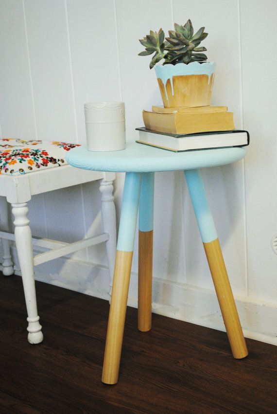 Paint Dipped Three Legged Wooden Side Table Stool In Natural Pine U0026 Seafoam  Blue