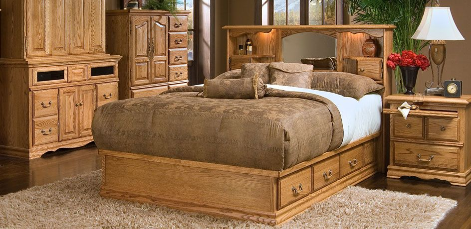 Gun cabnets in headboard of bed. | ... headboard, see our Master ...