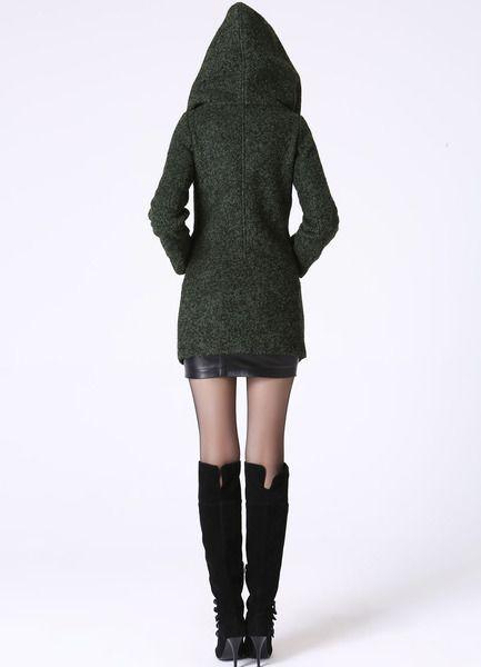 Moderne Mini Wool Coat- Wald Waldgrün 1056 ...