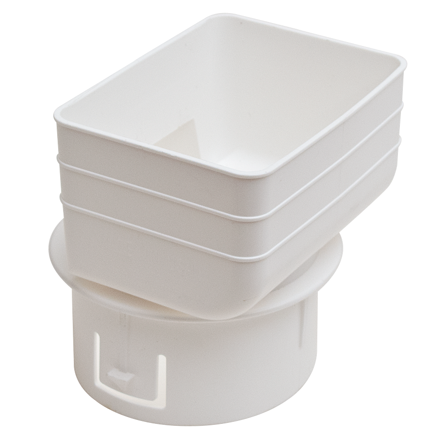 White Tile Adapter For The Transition From Rectangular Downspouts 2x3 Or 3x4 Sizes Are Available To The Round Drain T Downspout Adapter Downspout Drain Tile