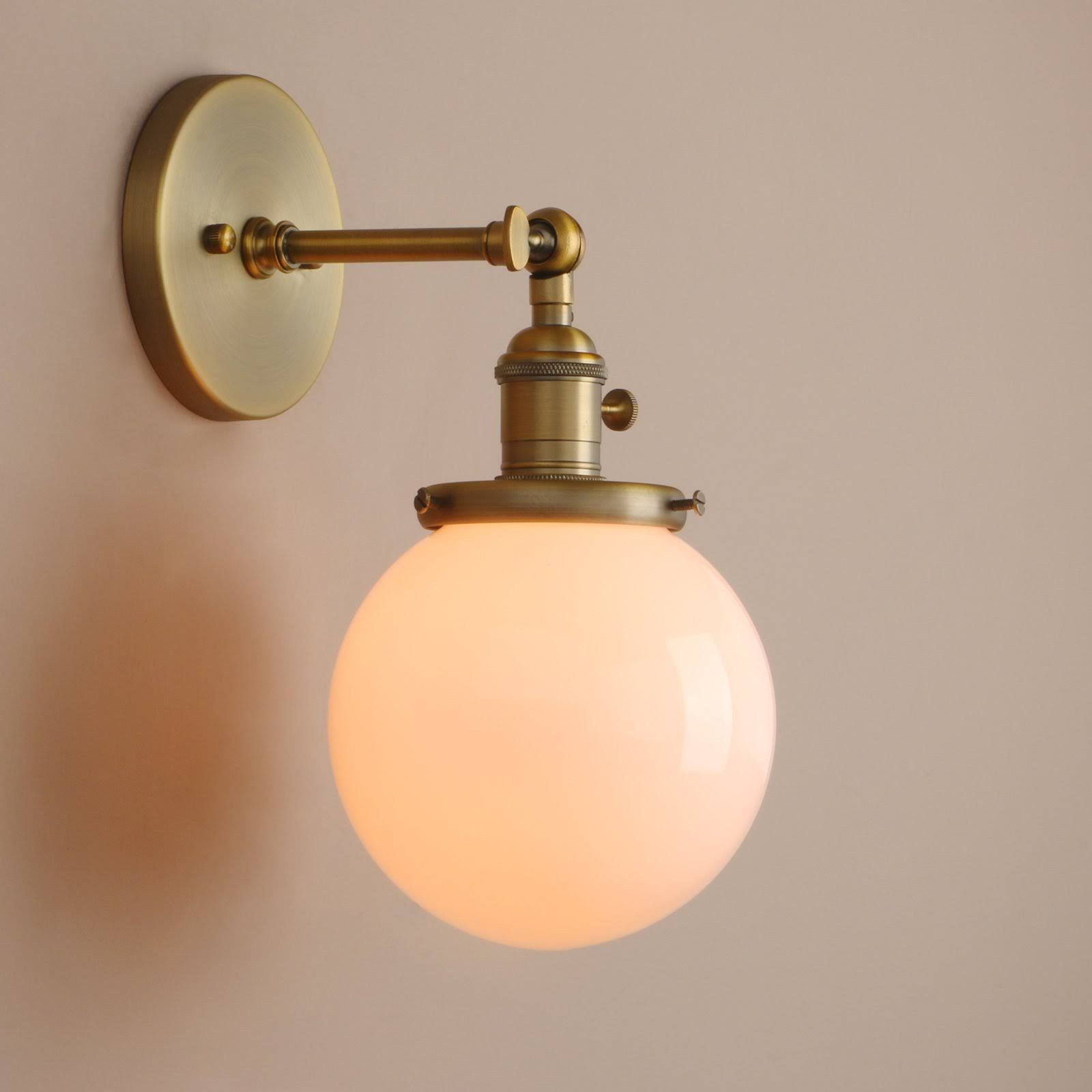 Pathson 1 Light Wall Sconce With White Globe Shade Metal Base