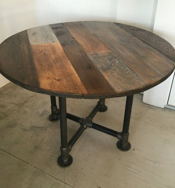 Round table  42  round table pipe leg base reclaimed wood planks  Order. Round table  dining table pipe leg base reclaimed wood planks