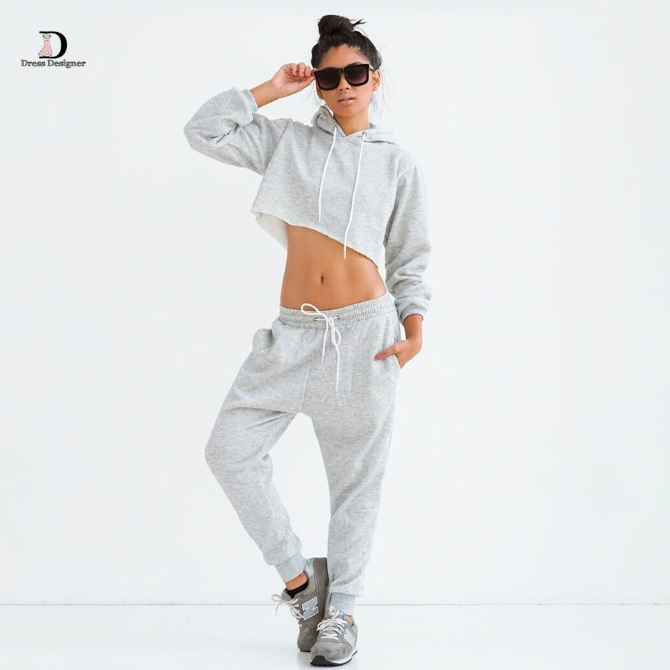 Fashion Two Piece Tracksuits Pants Long Sleeve Hoodies Sweatshirts Cotton Crop Tops Loose Casual Black Tracksuit
