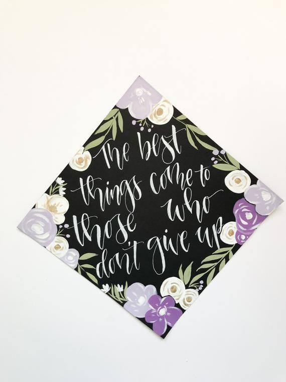 Custom Painted Graduation Cap Toppers | Floral Graduation Cap | Graduation Cap Design