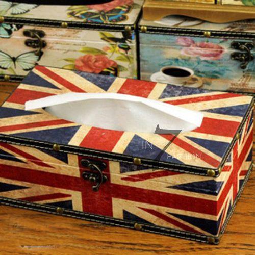 Vintage Retro Union Jack Design Home / Car Decor Leather Tissue Holder Box Cover