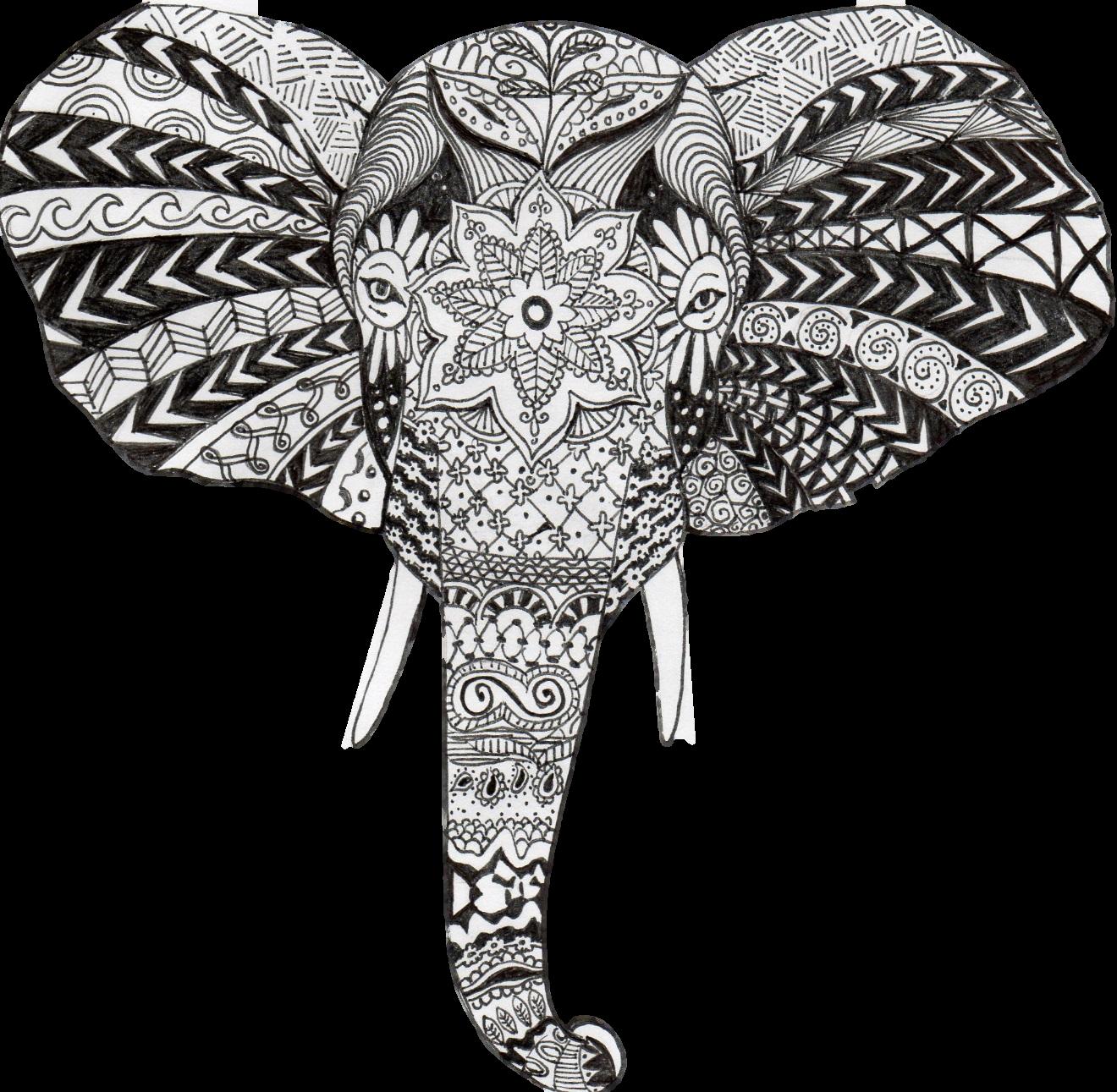 Elephant art - zentangle