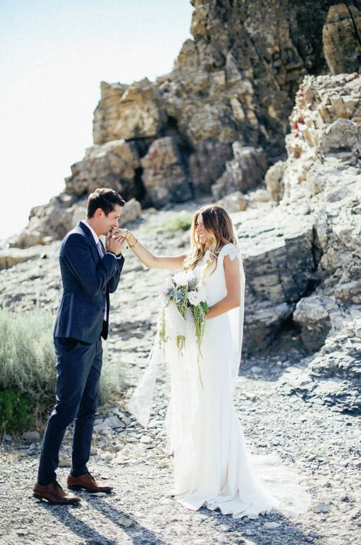 modest wedding dress with border sleeves and a fitted skirt from alta moda. -- (modest bridal gown) --