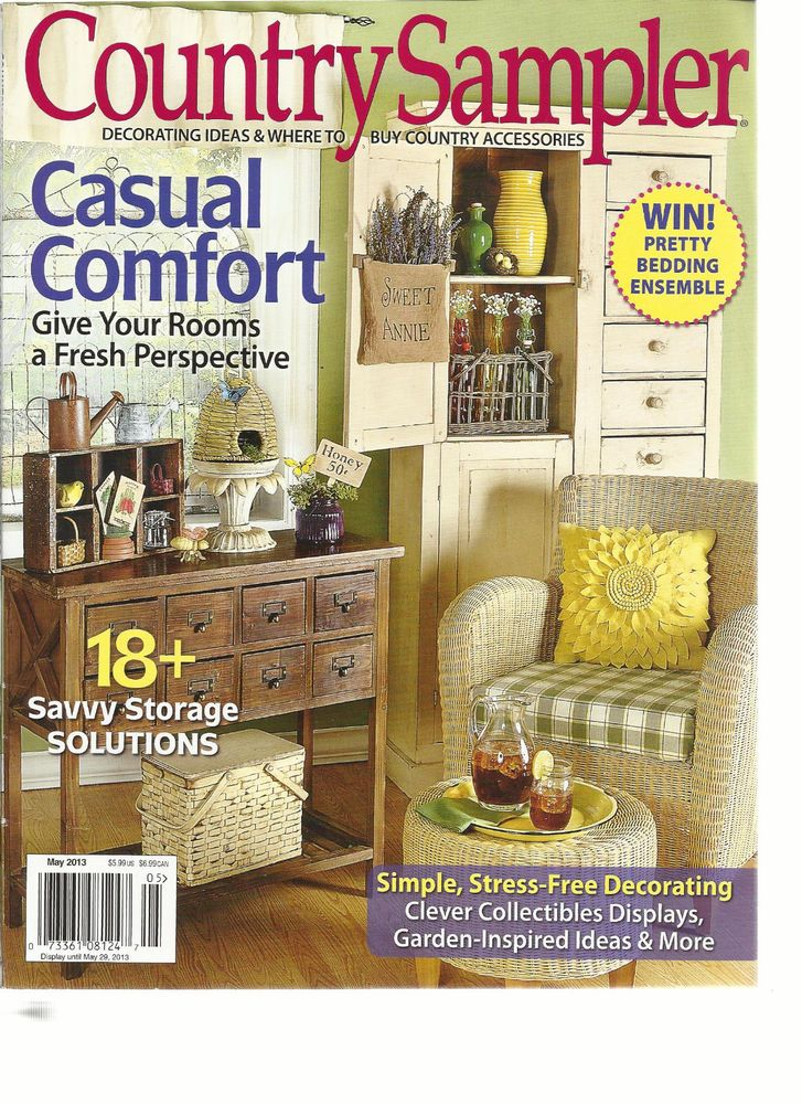 COUNTRY SAMPLER, MAY, 2013  ( DECORATING IDEAS & WHERE TO BUY COUNTRY ACCESSOR
