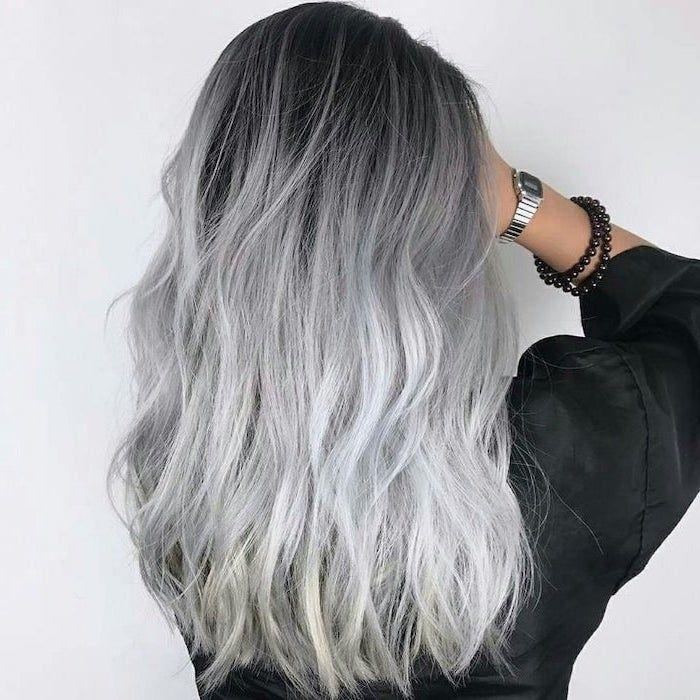Black To Platinum Blonde Medium Length Ombre Hair Brown To Blonde Black Satin Shirt In 2020 White Ombre Hair Blonde Ombre Grey Ombre Hair