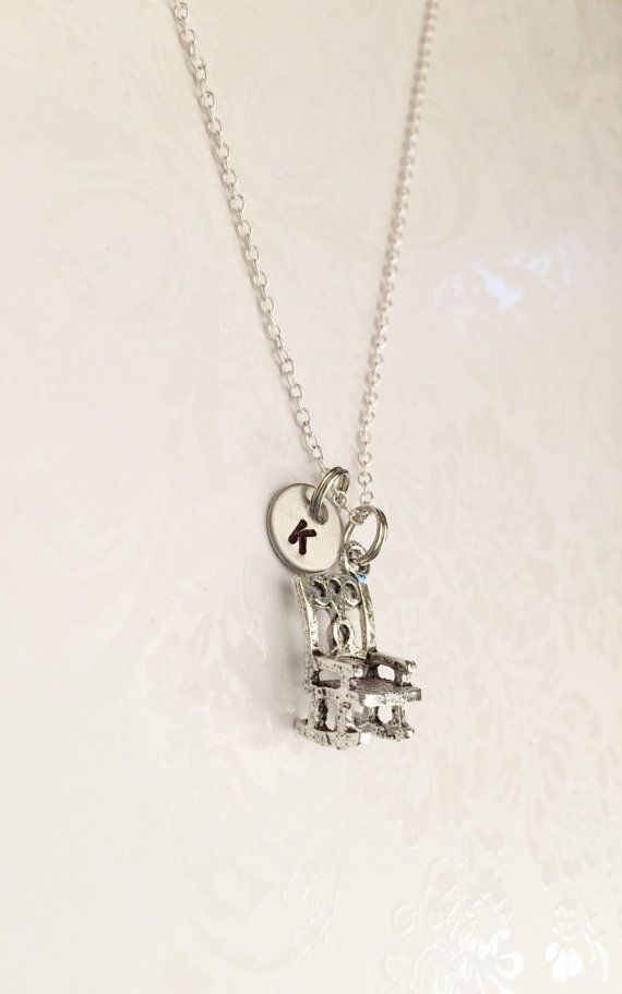 Antique 3-D Rocking Chair Necklace with Initial! Gift for Girls Gift for Mom, Gift for Grandma Relaxing Rocking Chair Necklace