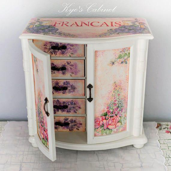 Pink Jewelry Box, Hand Painted Girls Jewelry Box, Decoupage