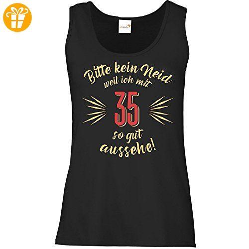 getshirts - RAHMENLOS® Geschenke - Tank Top Damen - Geburtstag 35 - Bitte kein Neid - beige - schwarz XS (*Partner-Link)