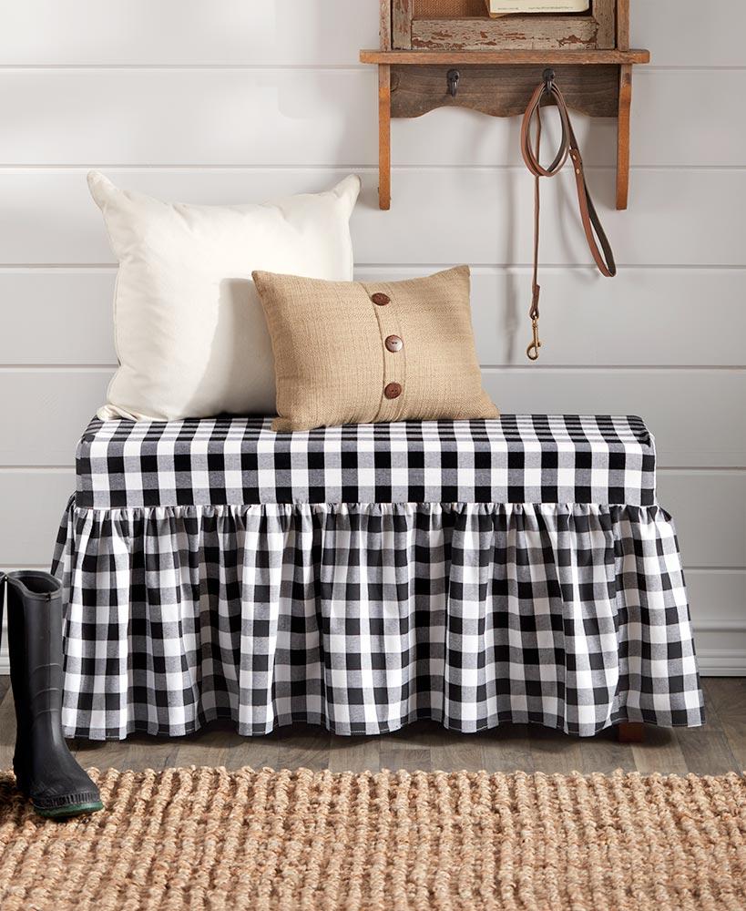 Farmhouse Ruffle Cushioned Bench in 2020 Bench cushions