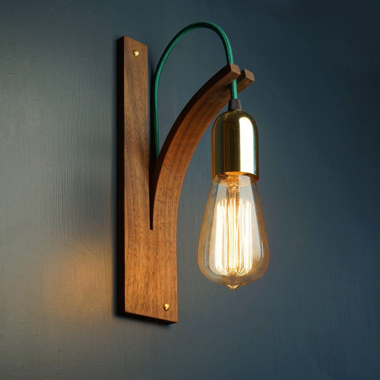 Walnut Wall Light Wall Sconce Interior Lighting Wooden Lamp Handmade Wooden Lamp Bracket Wall Light Wall Sconce Lighting