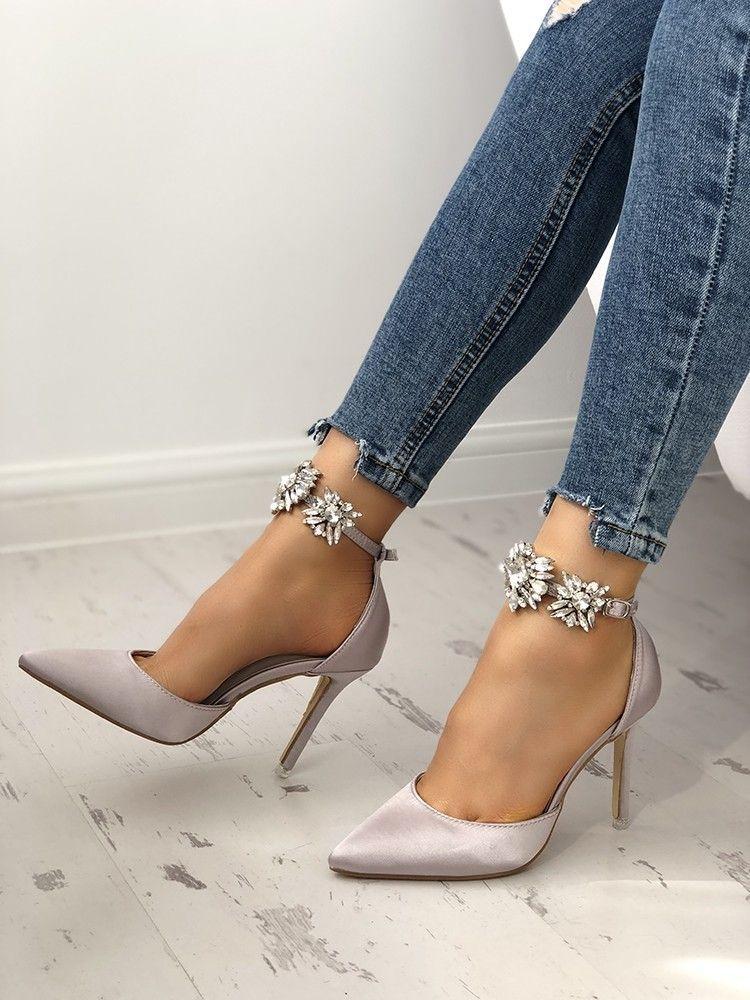 eeae5ce1511b Womens Satin Pointed Toe Rhinestone Ankle Strap Stiletto Heels ...
