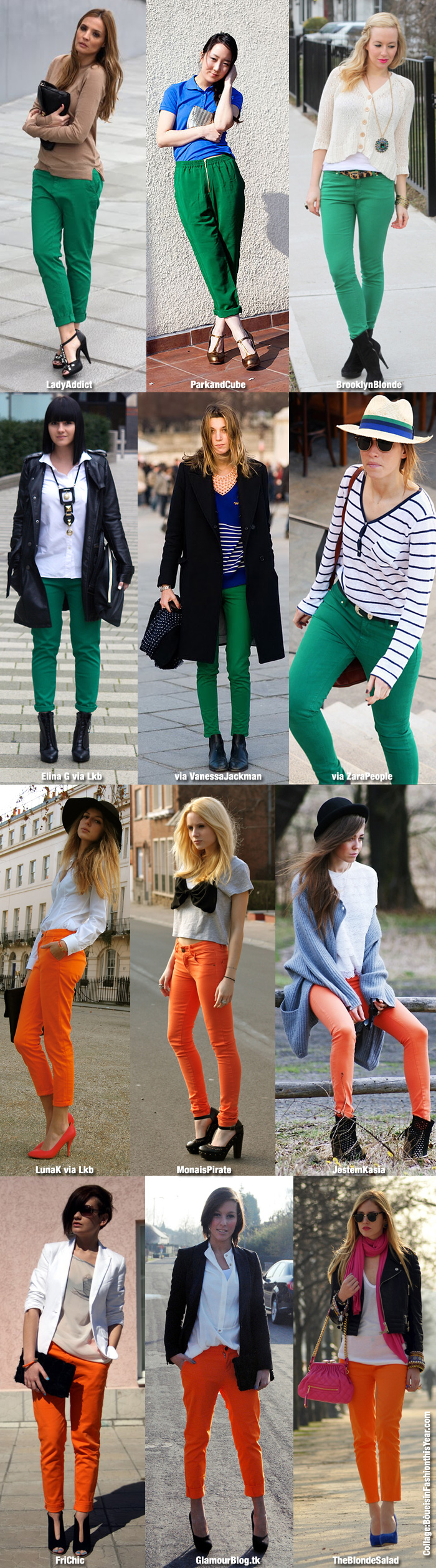 green and orange trousers