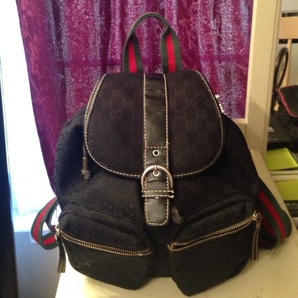 1720869ad93d Gucci backpack Gucci back pack with red and green strap. I purchased this  from another posher. THERE IS A SMALL TEAR IN THE FAbric part of the bag  but not ...