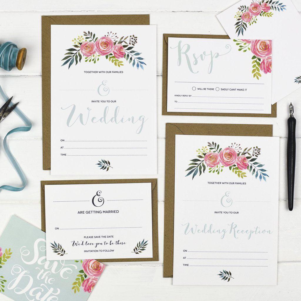 floral ready to write wedding stationery  wedding