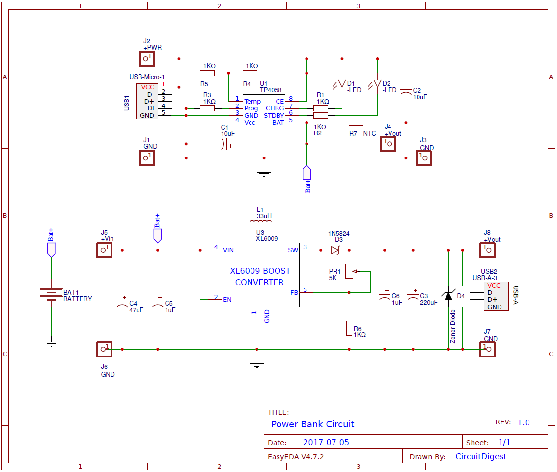 Power bank pcb circuit diagram for charging mobiles