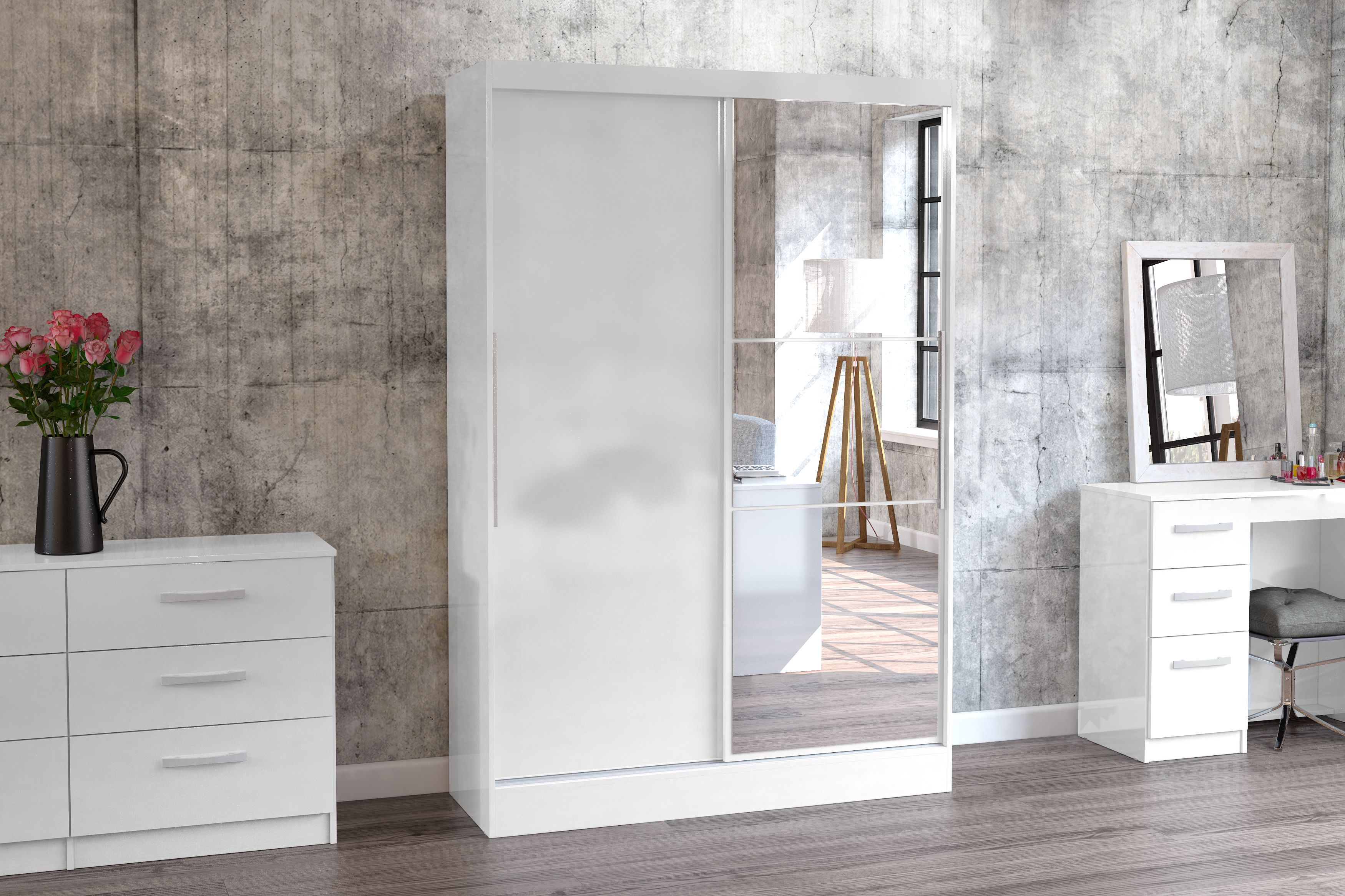 BIRLEA LYNX 2 DOOR SLIDING WARDROBE WITH MIRROR, WHITE