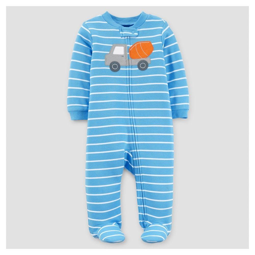 5b81a613c Baby Boys  Cotton Sleep N Play Truck Blue Stripe NB - Just One You ...