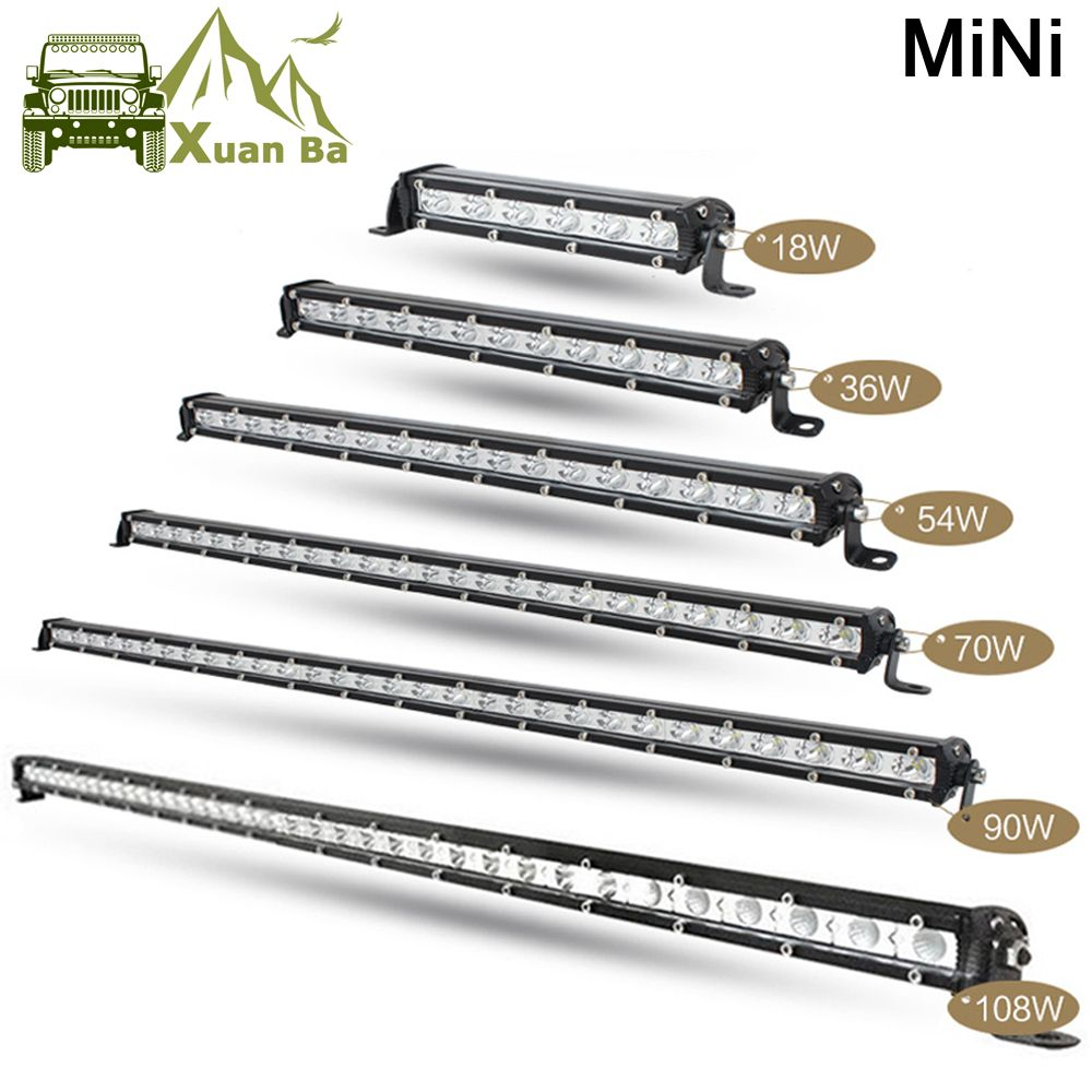 Promo Xuanba Super Mini 7 18w 25 72w 49 144w Led Light Bar 12v Combo Beam Suv Work Driving Lights Mini Light Bars Mit Bildern