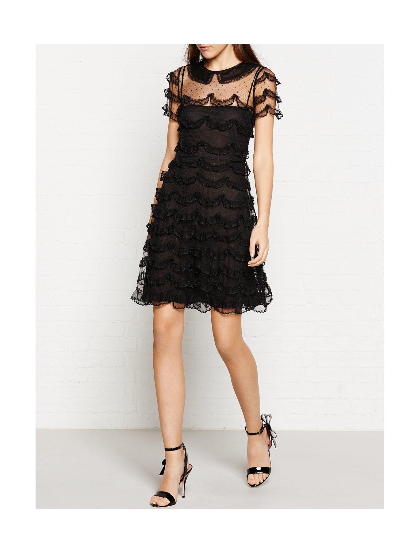 Redvalentino lace frill and ruffle detail dress black